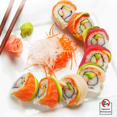 Benja Thai and Sushi - Sushi Menu. St George Utah Thai and Sushi Restaurant Salmon Sushi, Salmon Avocado, Sushi Recipes, Cooking Recipes, Dinner Recipes, Sushi Comida, Sushi Party, Sushi Lunch, Gastronomia
