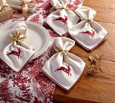 Embroidered Reindeer Napkin, Set of 4