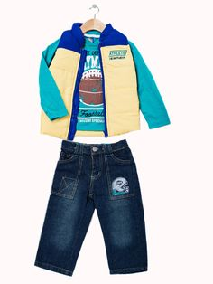 'Athlete' Vest set - Infant and Toddler. Available in orange/navy and yellow/turquoise. Only $29.99