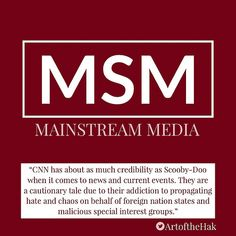 """""""CNN has about as much credibility as Scooby-Doo when it comes to news and current events. They are a cautionary tale due to their addiction to propagating hate and chaos on behalf of foreign nation states and malicous special interest groups.""""- James Sott, Senior Fellow, ICIT  #CNN #MSM #Russia #QAnon #CNNBlackmail #tcot #media #FakeNew #CNN #DeepState #msnbc #media"""