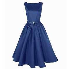Women's Boat Neck Vintage Sleeveless Rockabilly Swing Audrey Retro Dress