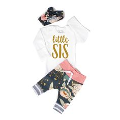 Newborn Baby LITTLE SIS coming home outfit pink and blue floral gold glitter theme going home set he Newborn Outfits, Toddler Outfits, Gigi And Max, Babe, Little Sis, Sibling Shirts, Coming Home Outfit, Baby On The Way, Leggings