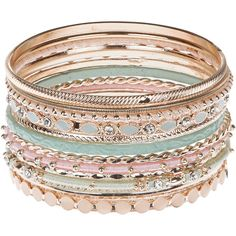 Accessorize Pretty Bangle Set ($3.60) ❤ liked on Polyvore featuring jewelry, bracelets, accessories, acc, hinged bracelet, bracelet bangle, bracelet jewelry, pink bead bracelet and beaded jewelry
