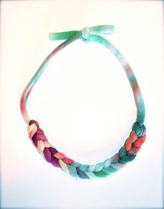 Rainbow Statement Necklace  Recycled Fiber Upcycled by Pamplepluie, $18.00