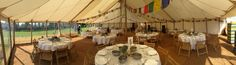 150 guest list in a honeycomb marquee. This traditional marquee is 12x18m and gives the couple on this day more than enough room to boogie as the night draws in.