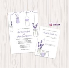 Free PDF Wedding Downloads - Mason Jar and Lavender Invitation and RSVP Set. For customizations: printableinvitationkits[at]gmail[dot]com