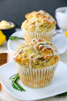 Vegan Lemon Rosemary Muffins is part of Vegan Lemon Rosemary Muffins Eat Drink Shrink - Hello & Happy Sunday! If you haven't heard, I'm on a muffin kick! For years I never made them as I found the texture in vegan recipes just to be off They were … Vegan Treats, Vegan Foods, Vegan Dessert Recipes, Baking Recipes, Lemon Recipes Vegan, Cookie Recipes, Vegetarian Recipes, Rosemary Recipes, Sweets Recipes