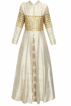 SVA BY SONAM & PARAS MODI presents Beige star embroidered jacket kurta with beige inner gown available only at Pernia's Pop Up Shop. Pakistani Dresses, Indian Dresses, Indian Outfits, Hijab Styles, Indian Attire, Indian Ethnic Wear, Kurta Designs, Blouse Designs, Hijab Fashion