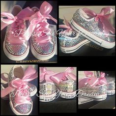 Custom Swarovski Crystal Rhinestone Converse Shoes - Flower Girl -  Bridesmaid - Bridal Converse Wedd ca9aa30ae11b