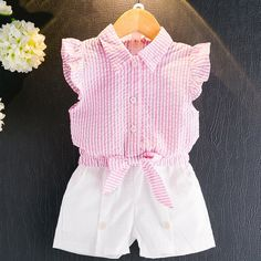 16.88$ Buy here - JSWANKY Girls Clothing Sets 2017 Summer Casual Kids Clothing Sets Turn-down Collar Butterfly Sleeve Shirt+Shorts 2Pcs Suits #SHOPPING