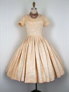 1950's Golden Ivory Satin Brocade Dress