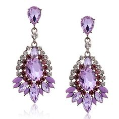 q-d Fashion Purple Crystal Dangle Big Earrings For Women Rhinestone  Brincos Grandes Waterdrop Earrings New Free Shipping 1218
