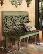 HORCHOW Wood THREE SEAT BENCH Green Ornate Scroll Indoor Outdoor Patio Garden