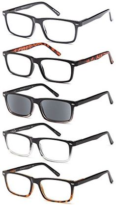 f4e348982352 Buy GAMMA RAY 5 Pack Spring Hinged Reading Glasses for Men and Women -  Choose your Style & Magnification: Shop top fashion brands Sunglasses at ...