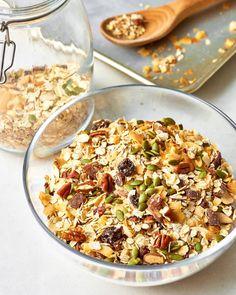 Easy Muesli Recipe - How To Make Muesli Healthy Muesli Recipe, Healthy Recipes, Healthy Meals, Healthy Food, Healthy Cereal, Healthy Breakfasts, Meal Recipes, Healthy Sweets, Vegan Food