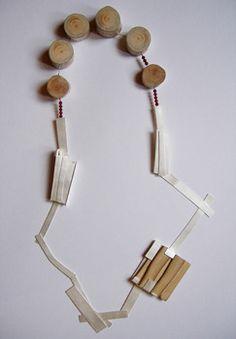 Helga Mogensen - Road Map Neckpiece I, 2007. Made from Silver, Driftwood and Cornelian Beads. Aprox. 890 diameter.