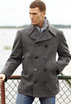 Mens Pea Coat Wool