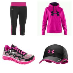 Black & Pink under amour running clothes Christmas list items! Running clothes f. Athletic Outfits, Athletic Wear, Sport Outfits, Cute Outfits, Running Outfits, Running Clothing, Gym Outfits, Workout Clothing, Running Gear