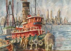 """Reginald Marsh (1898 - 1954) """"Tugboat in New York Harbor"""" watercolor, 1938."""