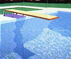 David Hockney painting (1978)  A diver (Paper Pool 17) - in the Walker Arts Centre. Handcoloured pressed paper pulp.