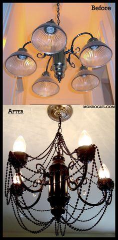 credit: Monrogue [ http://monrogue.com/brass-chandelier-makeover/]