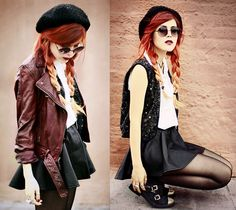 red orange hair  | red hair red ombre grunge grunge girl leather skirt girls in leather ...
