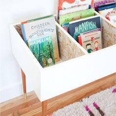 Pretty - Love this wonderful DIY kids book bin diy book organized - Top Fall Crafts for Tuesday #crafts #DIY #crafts #dailycraftinspiration #DIY #homemade #topcraftideas