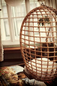 wicker hanging egg chair.. have this in storage... game room or master???