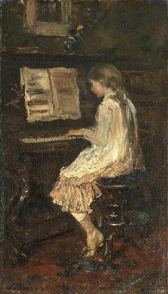 Girl at a Piano, 1879 by Jacob Maris (Dutch, 1837-1899)