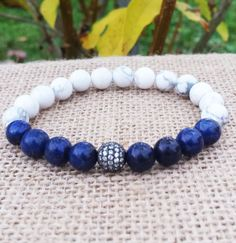 Men's Bracelets,Micro Pave Zirconia Lapis Lazuli Howlite,Mens Jewellery Gifts For Him Boyfriend Gifts