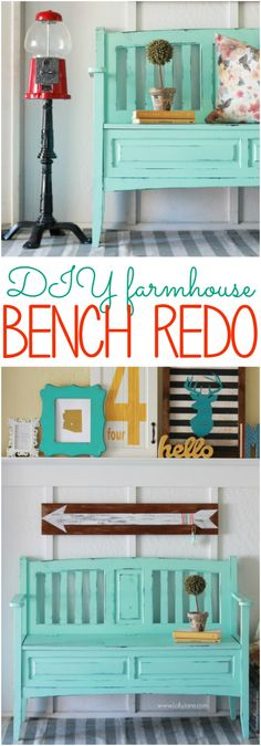 Gorgeous teal bench makeover! See how easy it is to refinish old furniture to make it new again.  lollyjane.com