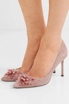 Jimmy Choo Romy 85 embellished suede pumps