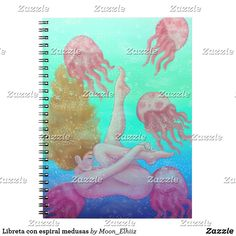 Libreta con espiral medusas Notebook, Jellyfish Painting, Visit Cards, Spirals, Stamps, Tent, Notebooks, Scrapbooking