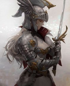 Knight by Chocofing R Fantasy Girl, Fantasy Female Warrior, Female Knight, Warrior Girl, Fantasy Armor, Fantasy Women, Dark Fantasy, Fantasy Character Design, Character Design Inspiration