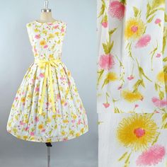 Vintage 50s Dress / 1950s Sundress FLORAL Print Pink Yellow