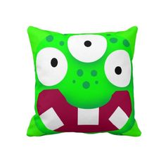 kids room funny cartoon green alien monster pillow