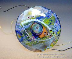 Artist handmade lampwork bead Magic Lentil by manuelawutschke