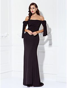 TS+Couture®+Prom+/+Formal+Evening+/+Military+Ball+Dress+-+Sexy+/+Open+Back+/+Elegant+Plus+Size+/+Petite+Sheath+/+Column+Off-the-shoulder+–+GBP+£+73.79