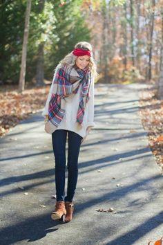 tenue automne avec foulard et bandeau cheveux