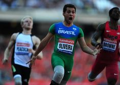Brazil's Alan Oliveira celebrates winning the men's T43/44 100 metres during the Sainsburys International Para Challenge at the Olympic Stadium, London. Photo: Adam Davy/PA Wire