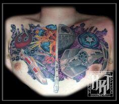 Andrew R Trull/ custom tattoo artist Chest Piece, Custom Tattoo, Future Tattoos, I Tattoo, Starwars, Tattoo Artists, Fashion Art, Watercolor Tattoo, Friends
