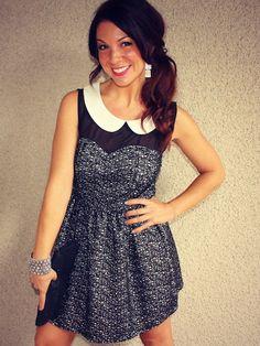Collar Sweetheart 'Jacqueline' Dress #peterpancollar #mesh #skater