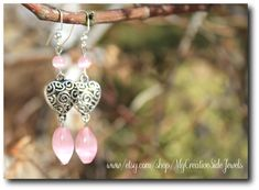 Pink filigree heart earrings.  Valentine's Day earrings.  Wedding earrings.  Etsy jewelry: https://www.etsy.com/shop/MyCreativeSideJewels