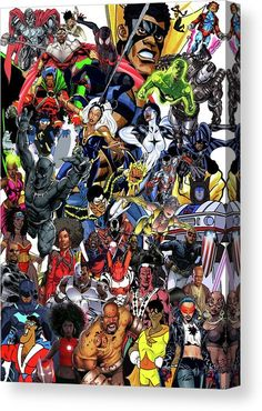 """This design is a celebration of the black superheroes I was influenced by growing up as an avid comic book reader. I also included a couple other black heroes from my youth, such as Verb, """"That's what's happenin'"""" and The Brown Hornet. Other heroes include Luke Cage, Black Panther, Storm, War Machine, SpiderMan (Miles Morales), NuBia (Wonder Woman's sister), Falcon, Misty Knight, and much more. It's fun to figure out the heroes."""