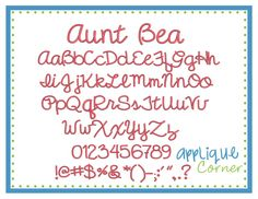 "Aunt Bea Embroidery Font These letters come in  .5"", 1"", 1.5"", 2"", 2.5"", 3"", 3.5"" sizes"