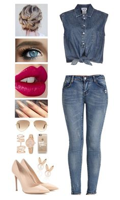 """""""Jeans"""" by itsatra ❤ liked on Polyvore featuring Aamaya by Priyanka, Jean-Paul Gaultier, Gianvito Rossi, Ray-Ban, Casetify, Charlotte Tilbury, Kate Spade, Repossi, love and jeans"""