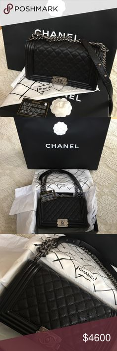 💯 Authentic Chanel Le Boy ❌SOLD❌ Unique to this collection is the intricate, semi-glossy caviar leather with the textured hardware chain. Pinch clasp opens - Signature Chanel quilted caviar calfskin in Black - Aged Ruthenium chain can be worn long or short - Single flap opens to large center compartment in Black - Interior features side pocket - Measures 10in. W (at base) x 6in. H x 3in. D, strap drop is 20.5 inches - Comes with Dust Bag, Box,Authenticity Card Retail: $5399+ Tax CHANEL Bags