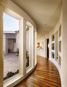 Inspiring Hallway Decorations Creating Dazzling Spot: Inspiring Hallway Decorations With Glassy Wall At One Side And Wall With Shelving At A...