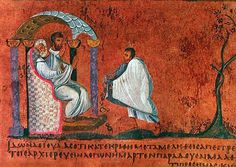 """Judas attempts to return the 30 pieces - Codex Rossanensis, 13th sheet. The Codex Purpureus Rossanensis is an uncial greek manuscript of the 6th century CE, preserved in the Diocesan Museum of Rossano (Calabria Region, Italy) and containing a Gospel with texts of Matthew and Mark. It owes its name """"purpureus"""" to the fact that its pages are reddish and contains a series of miniatures, making it one of the oldest illuminated manuscripts of the New Testament which have been preserved"""