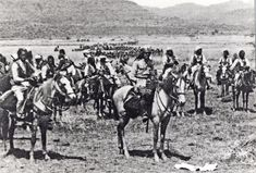 1935, Oct: Amedeo and the Spahys di Libya lead the advance into Ethiopia, with columns of Italian infantry to the rear.